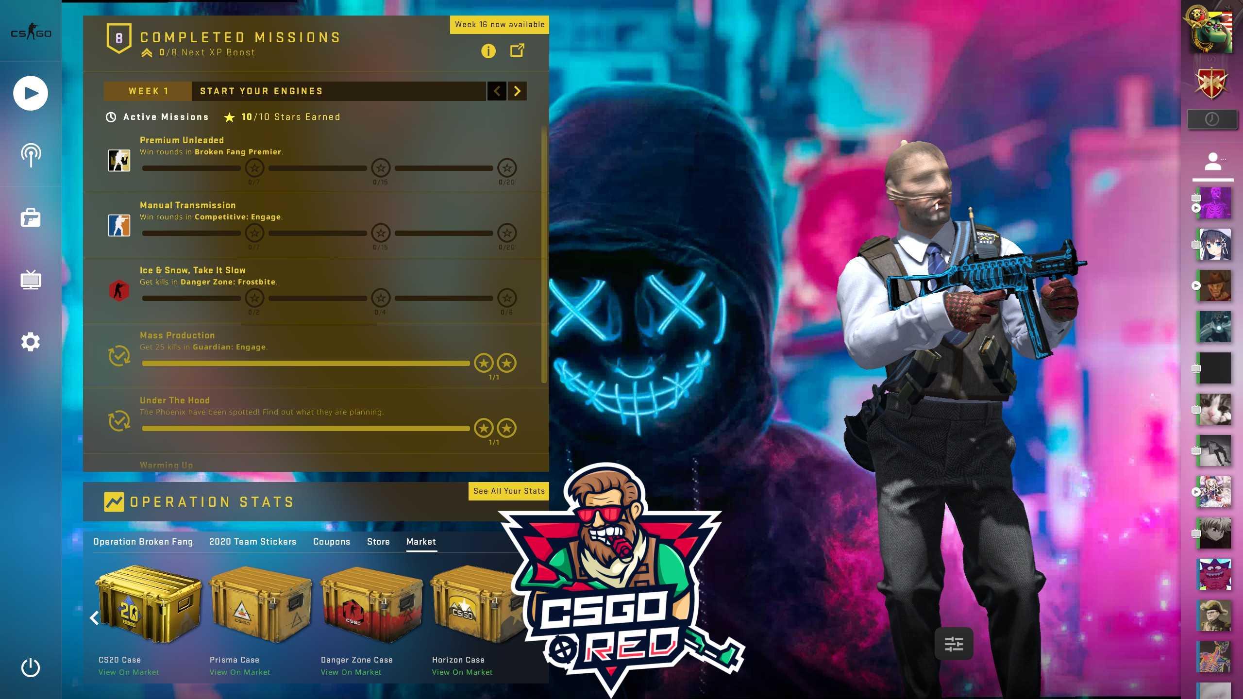 Neon Masked Guy CSGO Panorama UI Background